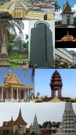 Searah jarum jam, dari kiri atas: Phsar Thom Thmei, Choeung Ek Memorial, Chan Chhaya Pavilion, OCIC tower, Sorya Shopping Center, Independence Monument, Royal Palace complex, Silver Pagoda, Wat Phnom