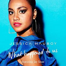 A blue background with a woman. Woman with a blue skirt. White word is 'JESSICA MAUBOY What Happened to Us featuring Jay Sean'