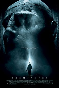 "A female figure in silhouette stands before an enormous statue of a humanoid head. Text at the middle of the poster reveals the tagline ""The Search For Our Beginning Could Lead To Our End"". Text at the bottom of the poster reveals the title, production credits and rating."