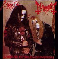 Sampul bootleg 'Tribute to the Black Emperors': Øystein Aarseth (Euronymous) dan Per Yngve Ohlin (Dead)