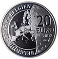 2007 Belgium 20 Euro 100 years Herge back.JPG