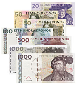 Older Swedish bank notes which will become invalid in 2016 and 2017.