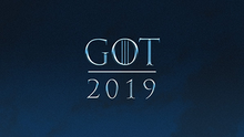 "The text ""GOT"" above the text ""2019"", all with a blue background"