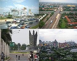 Lalu lintas Jl. Ahmad Yani, Jembatan Jl. Cut Meutia, Kota Harapan Indah, Mal Metropolitan