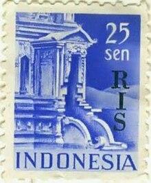 Perangko era Republik Indonesia Serikat dengan nominal 25 sen