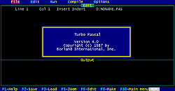 Turbo Pascal 4.0 (1987) startup screen.