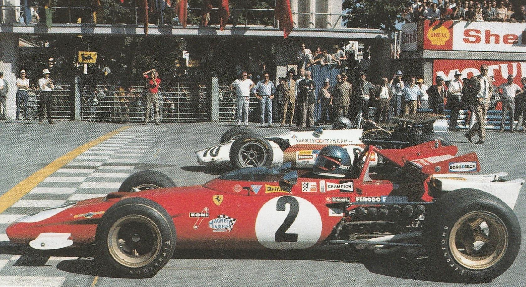 Monza, 6 settembre 1970. La Ferrari 312 B di Jacky Ickx in pole position al Gran Premio d'Italia.