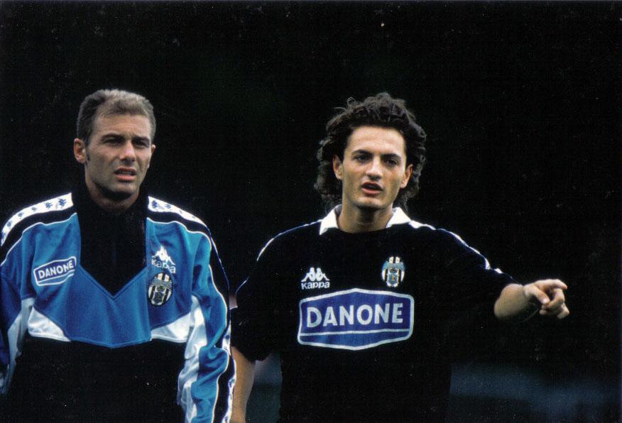 Fortunato in una pausa d'allenamento con il compagno Antonio Conte