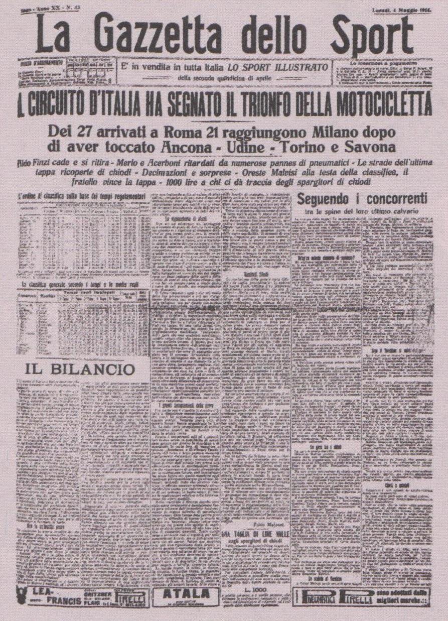 64df0ed03 «Gazzetta dello Sport», 4 maggio 1914: il primo giro motociclistico  d'Italia.