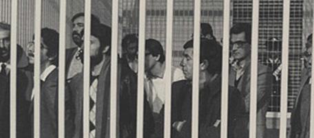 Nella foto: alcuni imputati del processo 7 aprile; alla destra si riconosce Toni Negri