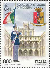 Un francobollo italiano dedicato all'Accademia Militare di Modena.