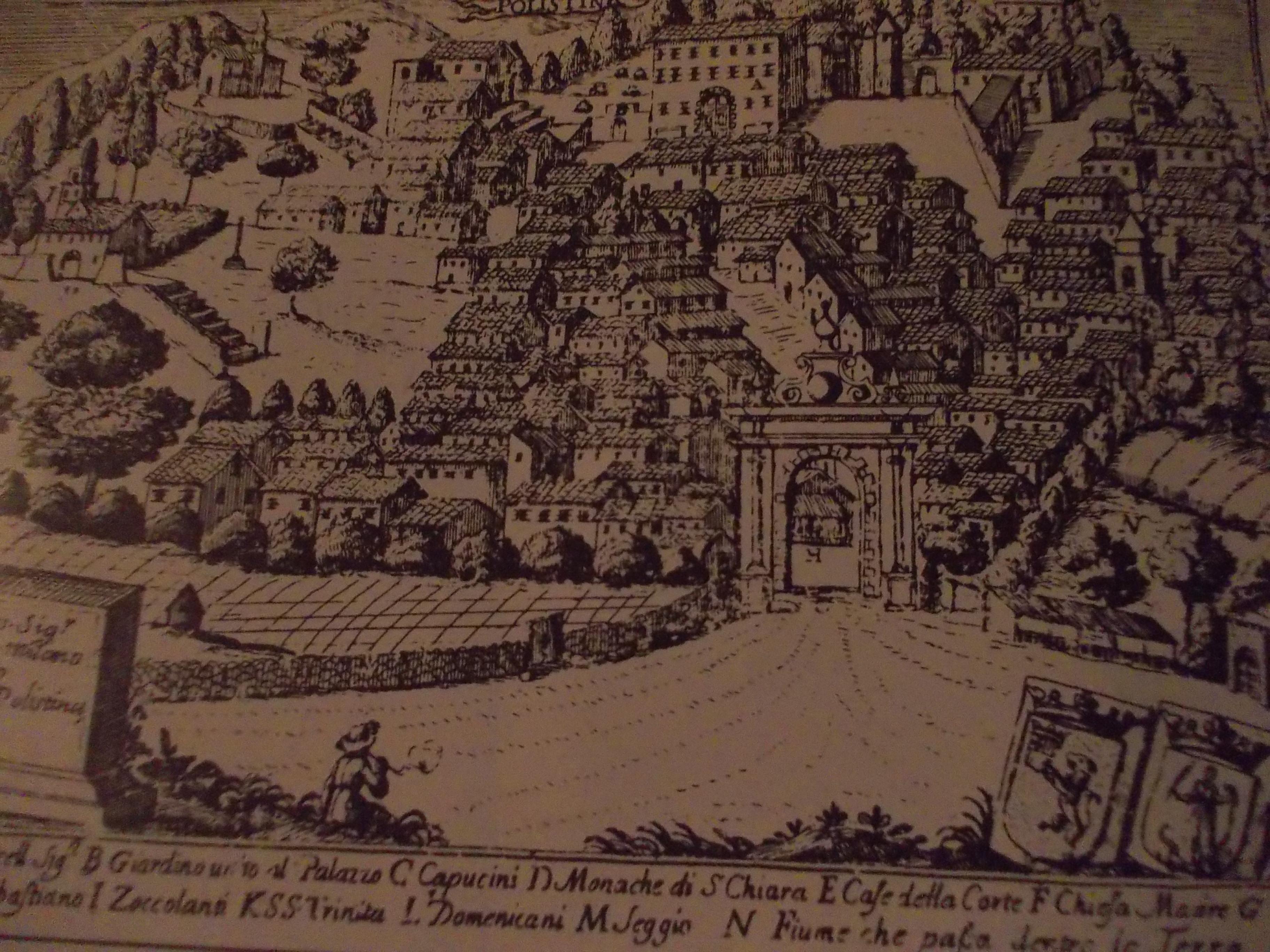 Il Pacichelli riproduce in rame la citt di Polistena data 1701 con lo stemma di Santa Marina che calca sotto i piedi un drago e che stringe con la mano