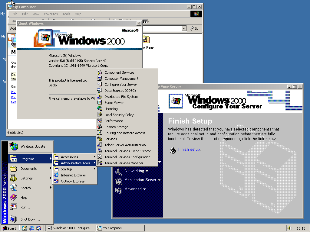 Desktop di Windows 2000 Server