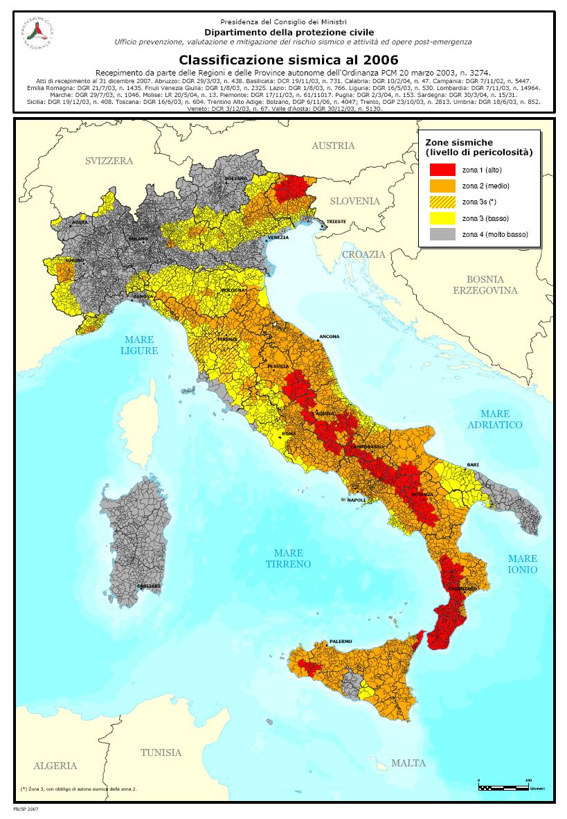 Terremoti ed energia nucleare il caso della centrale di for Mappa sismica italia