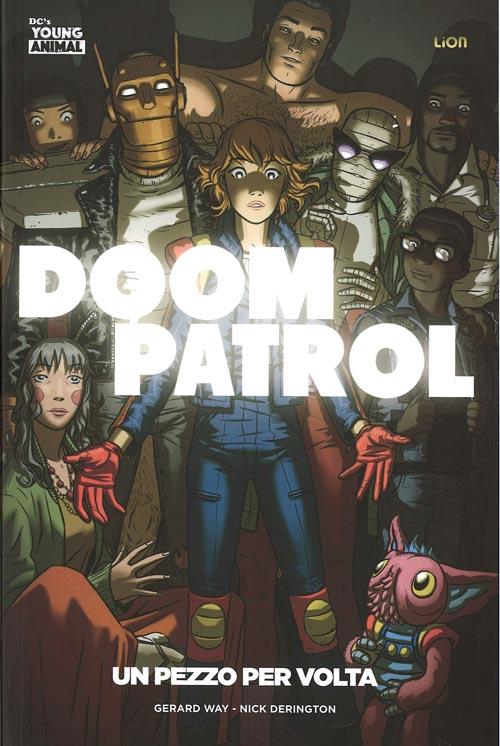 La copertina della serie più recente dedicata alla Doom Patrol. Disegni di Nick Derington