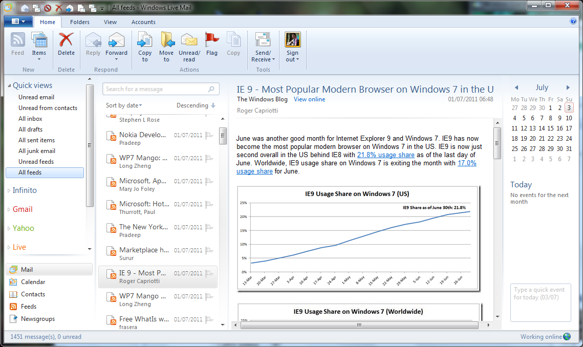 Windows Live Mail on Windows 10 Outlook Express