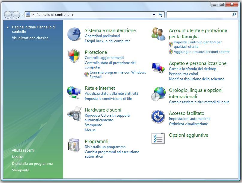 Schermata di esempio per il Pannello di Controllo di Windows