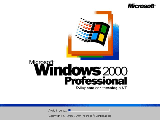 Schermata di avvio di Windows 2000