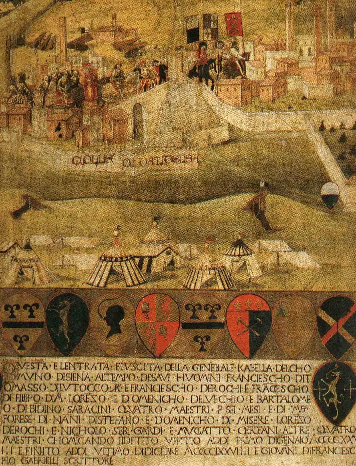 Tavola di Gabella del 1479 raffigurante l'Assedio di Colle Val d'Elsa