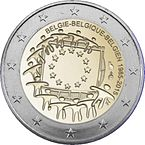 2 € commemorativo Belgio Bandiera europea 2015.jpeg