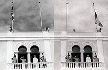 Mogadiscio 1º aprile 1950: la cerimonia di ammaina bandiera della Union Jack e l'alzabandiera del Tricolore, segna l'inizio dell'Amministrazione fiduciaria italiana della Somalia