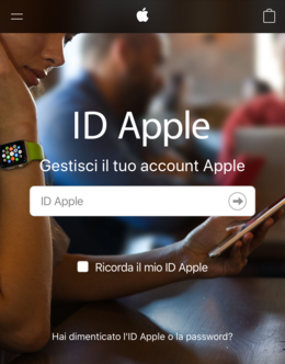Schermata di login dell'ID Apple.