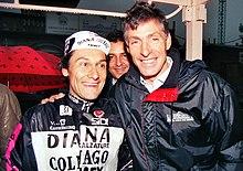 Saronni alla Milano-Torino 1990 assieme a Moser, suo storico rivale.