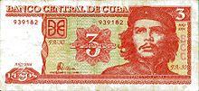 Fronte della banconota cubana da 3 pesos