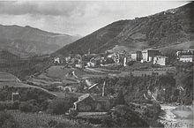 Veduta di Castel del Rio negli anni cinquanta.