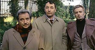 Al centro, fra Ugo Tognazzi e Duilio Del Prete, in Amici miei (1975) di Mario Monicelli