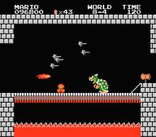 Bowser alla sua prima apparizione in Super Mario Bros.