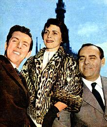 Luciano Salce, Franca Valeri e Vittorio Caprioli nel 1957
