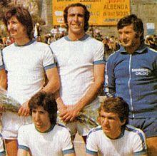 Ventura (in piedi, al centro) alla Sanremese nella stagione 1974-1975