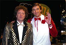 Greggio e Gianfranco D'Angelo negli anni ottanta, durante il programma comico Drive In