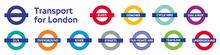 I roundel di ogni divisione della Transport for London. In alto a sinistra è visibile il logo della TfL.