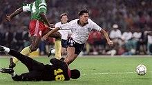 Lineker in azione con la maglia dell'Inghilterra ai mondiali di Italia '90