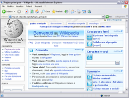 Screenshot di Internet Explorer 6 su Windows XP