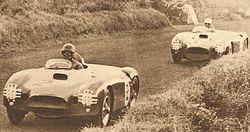 In primo piano la D25 di Juan Manuel Fangio, seguita dalla D24 di Piero Taruffi