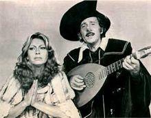 Modugno con Alida Chelli durante lo spettacolo teatrale Cyrano (stagione 1979-1980)