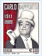 Il francobollo che ricorda Dapporto a cento anni dalla nascita