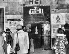 La sede del Movimento Sociale Italiano di via Acca Larentia dopo la sparatoria