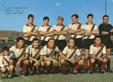 L'undici rossoverde (che qui indossa la seconda maglia bianca sbarrata) primo classificato nel girone C della Serie C 1967-1968