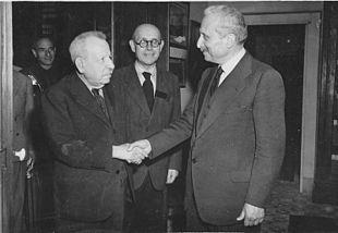 Benedetto Croce con Enrico Altavilla e il Capo provvisorio dello Stato, Enrico De Nicola