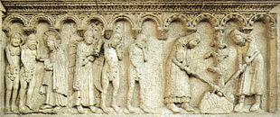 Cacciata dal Paradiso Terrestre, e lavoro dei progenitori, rilievo di Wiligelmo, Duomo di Modena