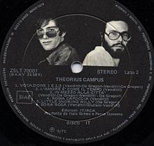 De Gregori e Venditti sull'etichetta del disco Theorius Campus
