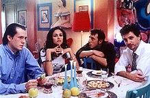 Gianmarco Tognazzi, Maria Grazia Cucinotta, Ceccherini e Leonardo Pieraccioni ne I laureati (1995)