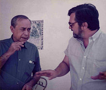 Leonardo Sciascia con lo scrittore Franco Pappalardo La Rosa.