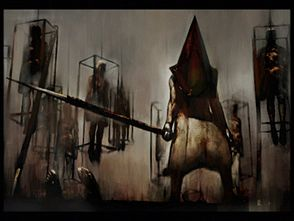 Pyramid Head ritratto nel quadro Misty Day: Remains of The Judgement