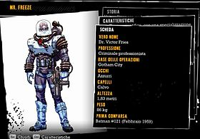 La scheda biografica di Mr. Freeze in Batman: Arkham Asylum