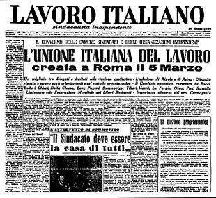 La prima pagina del numero del 10 marzo 1950 del Lavoro Italiano con in evidenza il titolo a otto colonne sulla fondazione della UIL